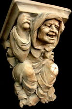 Mythical Gothic Medieval Old Monk Happy Dwarf Wall Sculpture Bracket Sconce