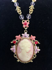 New Vintage Style Cameo Pink Floral Oval Crystals Charm Chain Necklace BR1124