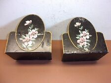 Antique Tole Painted Metal Bookends Hand Painted Flowers on Metal VERY COOL!