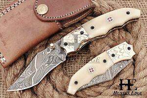 HUNTEX Custom Handmade Damascus 110 mm Long Tanto Hunting Folding Pocket Knife