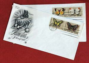 ZAYIX - 1977 United States FDC (2) - Flowers / Butterflies
