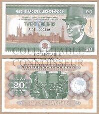 Gran Bretaña 20 lb (approx. 9.07 kg) 2016 UNC Billete nota de prueba de concepto-Sherlock Holmes