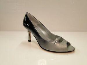 Sabrina Chic Womens Black/Grey Peep Toe Heel Court Shoes UK6/EU39 (2761 VD-GRI)