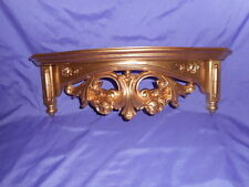 "Vintage 1977 Homco Home Interior Gold Scroll Rose Wall Shelf 19 3/4""W #3056"