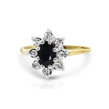 9 ct oro giallo,zaffiro + diamante a grappolo Abito Anello - Misura H1/2 (00264)