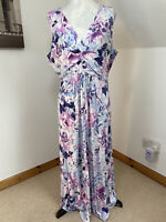 Bonmarche Size 20 Shift Dress Floral Blue Pink Lilac Stretchy Ruched Waist Midi