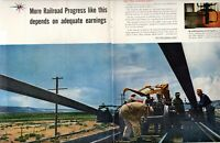 1958 2 PAGE ORIGINAL VINTAGE ASSOCIATION OF AMERICAN RAILROADS MAGAZINE AD