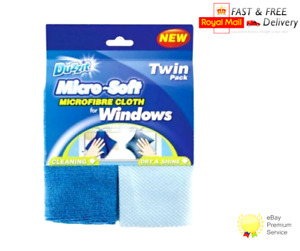 2 Packs of 2 Duzzit Microfibre Window Cloth Cleaning Glass Cloth 4 Cloths