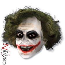 Official Batman Joker Dark Knight 3/4 Vinyl Face Mask & Hair Fancy Dress New
