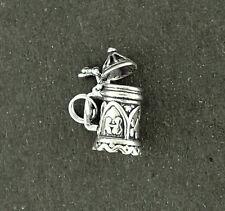 Beer Stein Charm Sterling Silver Pendant 3d Lid Opens German Mug Split Ring