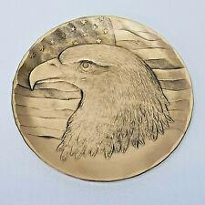 "Wendell August Solid Bronze Mini Plate / Coaster EAGLE PROFILE, 4½"" Diameter"