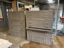 Vintage Metal Five 5 Drawer Flat File Flatfile Art Map Storage Cabinet