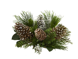 21 in. Pine Cone and Pine Artificial Arrangement Candelabrum by Nearly Natural