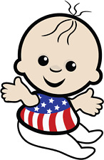 "Baby United States Of America USA Flag Car Bumper Sticker 4"" x 5"""