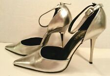 Frederick's Hollywood Stiletto Heels Club SHOES Women's 6M Sexy Silver Chrome