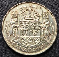 1951 Canada Silver 50 Cent Half Dollar Coin - 80% Silver - Great Condition