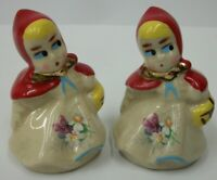 Vintage Little Red Riding Hood Pottery Salt & Pepper Shakers with Floral Decals