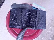 American Alligator leather Trifold Wallet Swamp Skin Gator Hide Mens BlK BA5