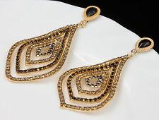 Bohemian style black gray crystal chandelier golden rhombus stud earrings A18