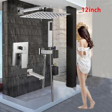 """Shower Faucet Set 12"""" Top Rain Sprayer Shower Head Handheld Shower Tub Spout"""