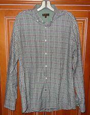 Ben Sherman Gray & Green Plaid Long Sleeve Button Front Shirt 16-1/2 34-35 Large