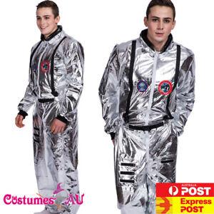 Mens Spaceman Costume Adult Astronaut Fancy Dress Space Man Nasa Outfit Jumpsuit