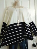 Moa Moa NWT Knotted Hemline Stretch Casual Top Plus 3X Blue White