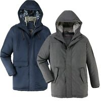 Mens Quilted Parka Parker Jacket Long Padded Fur Lined Hood Coat Warm Outdoor