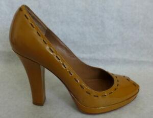 VIA SPIGA (Made ITALY) Mustard Patent Leather Peep Toe Platform Heel Shoes 6.5M