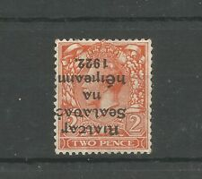 IRELAND 1922 T17a Rare Mint 2d Die 2 with INVERTED OVERPRINT CV$510.00