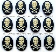 12 Goth Punk Halloween IVORY color SKULL & BONES on BLACK 18mm x 13mm CAMEOS LOT