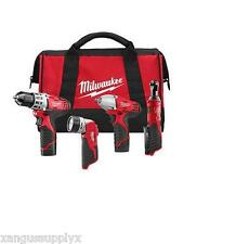 """Milwaukee Tools 2493-24 M12 3/8"""" Impact Wrench, Drill Driver, 1/4"""" Ratchet Kit"""