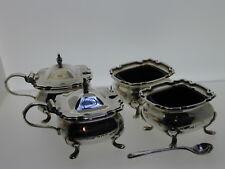 More details for silver cruet set blue glass mustard salt 1 spoon 1917 e s barnsley & co 253.3g