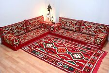 L SHAPED Oriental Floor Seating Sofa Red White Arabic cushions Bohemian Couches