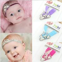 Baby Lovely Princess Tiara Crystal Pearl Crown Elastic Headband Hairband Turban