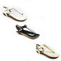WOMENS SUMMER BEACH COMFY STRAPPY FLAT FLIP FLOPS SANDALS LADIES SHOES NEW 3-8
