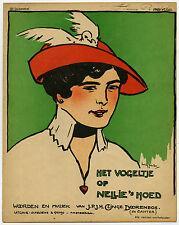 Antique Print-WORD-MUSIC-CLINGE DOORENBOS-BIRDIE ON NELLIE'S HAT-Sluiter-ca.1930