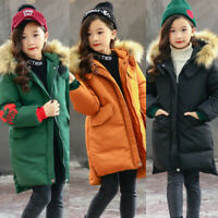 Kids Girls Winter Puffer Fur Hooded Hoodie Trench Down Coat Jacket Parka Size