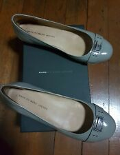 MARC JACOBS PATENT LEATHER FLATS-GRAY, Size 39.5