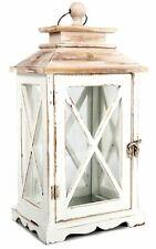 Distressed Whitewashed Wooden Hurricane Tealight Candle Storm Lantern