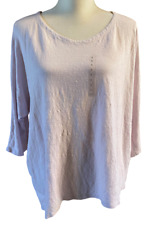 NEW Eileen Fisher Womens Light Pink Organic Linen Dolman Sleeve Top size Large