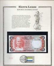 Sierra Leone 1985 2 Leones P6h UNC w/FDI UN FLAG STAMP Prefix B/108