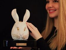 "TIMMY WOODS RARE WHITE ""GRAND RABBIT"" HAND CARVED PURSE CLUTCH BUNNY MINAUDIERE"