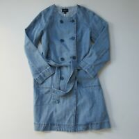 NWT J.Crew /JEANS Denim Collarless Trench in Bright Sky Belted Coat S