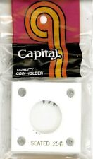 Capital Plastic Holder For 1 US Seated Quarter Coin 2x2 White Acrylic Display