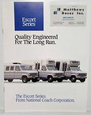 1988-1989 National Escort Series Bus Coach Sales Brochure with Business Card