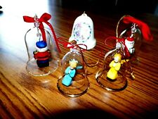 Five Hanging Ornaments Precious Moment Christmas Bell Plus 4 Clear Glass Bells