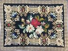 """Antique Floral Flat Weave Rug W/ Embroidered Metallic Thread Border. 42"""" x 31""""."""
