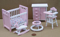 1:12th Scale 5 Piece Pink & White Nursery Set Dolls House Miniature Bedroom 1538