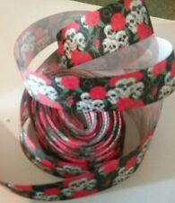 1m g/grain ribbon 22mm black skulls roses Goth Halloween gift wrap hair clips